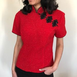 Women's Red Japanese Glamorous Beaded Sequins Top